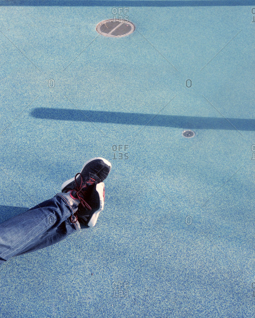Sneakers on a speckled blue ground
