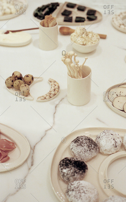 An assortment of food on a marble surface