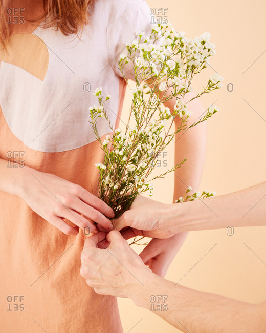 Male hands passing a bunch of white flowers to woman
