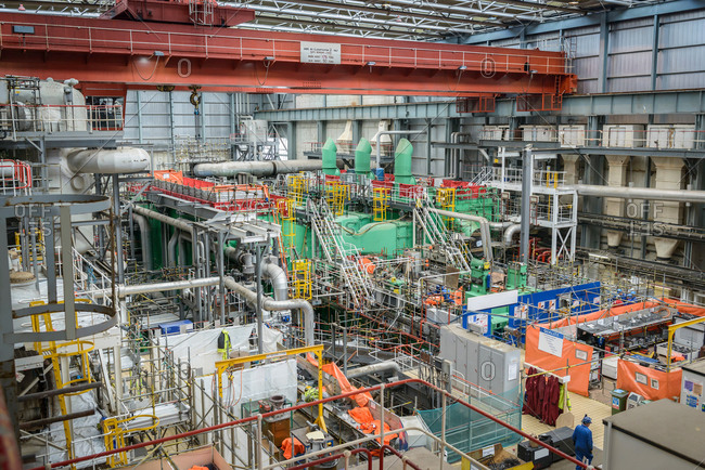 High angle view of  the turbine hall in repair during power station outage