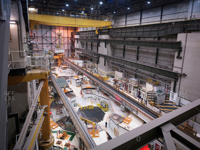 Reactor hall in nuclear power station, high angle view
