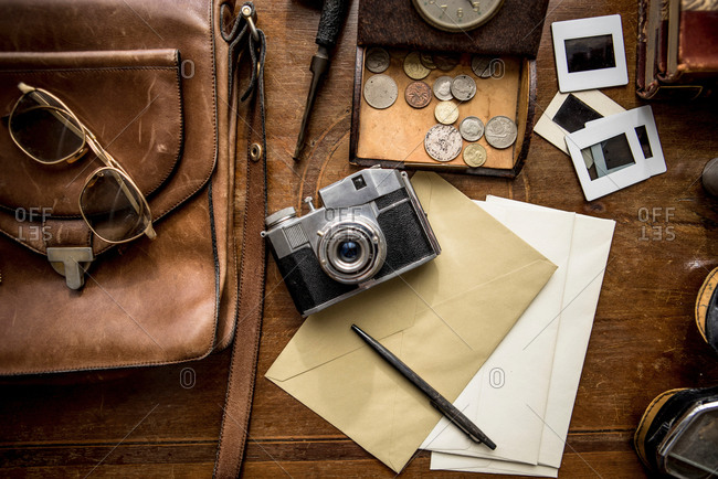 Still life of group of vintage objects on table