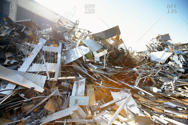 Tangled heap of aluminum in scrap yard