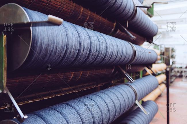Rolls of wool in woolen mill