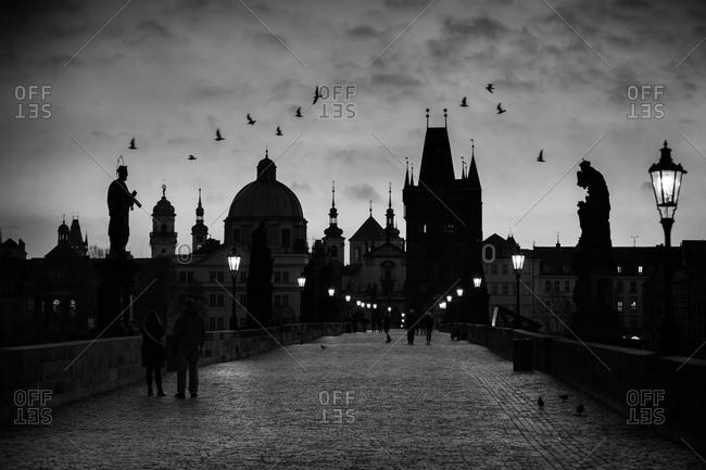 Silhouette of Charles Bridge at night, Prague, Czech Republic