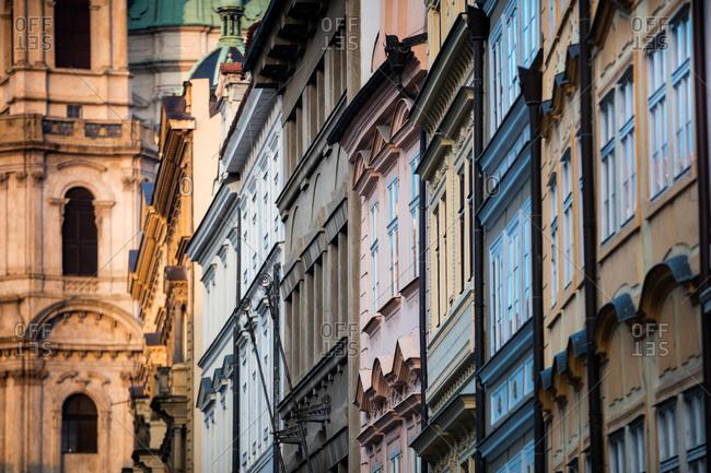 Traditional building exteriors in Prague, Czech Republic