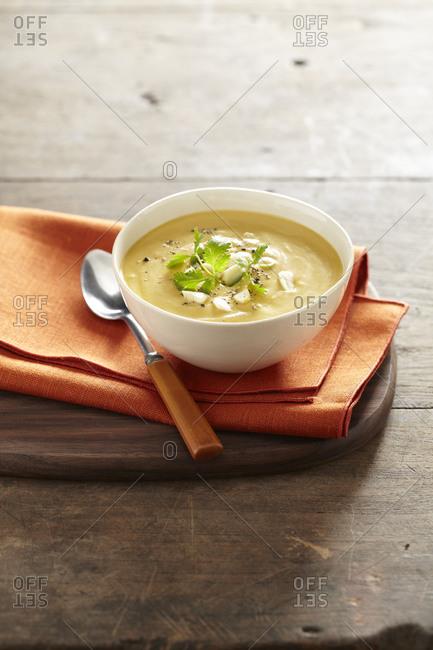 Homemade bowl of lentil soup