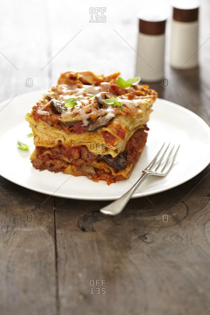 Serving of sausage and vegetable lasagna