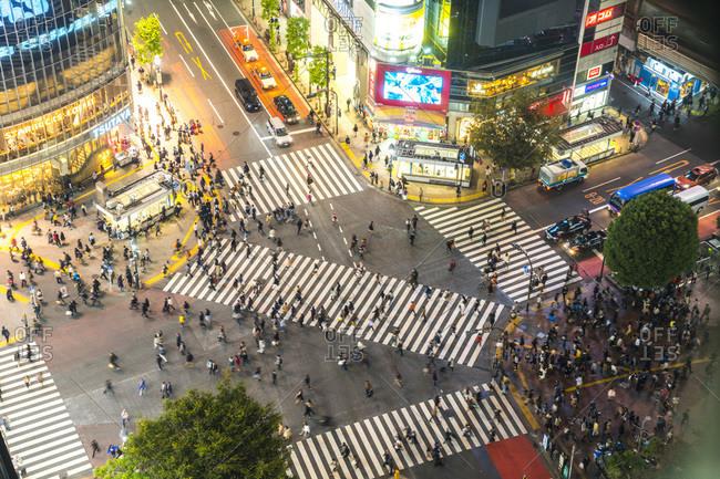 Tokyo, Japan - November 5, 2015: Aerial view of the Shibuya Crossing in Tokyo, Japan