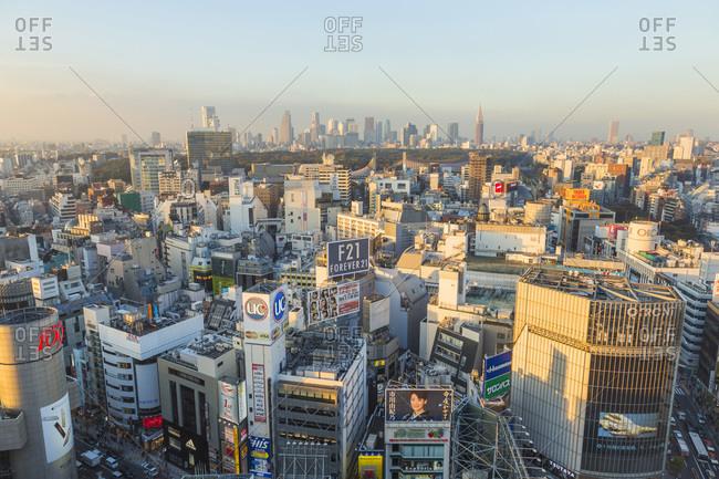 Tokyo, Japan - November 5, 2015: Shibuya ward and the Tokyo skyline, Tokyo, Japan