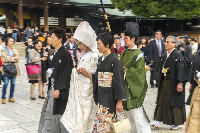 Tokyo, Japan - November 7, 2015: Traditional Japanese wedding, Meiji Jingu shinto shrine in Tokyo, Japan