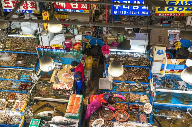Seoul, South Korea - November 24, 2015: Elevated view of the fish stalls at the Noryangjin Fish Market in Seoul, South Korea