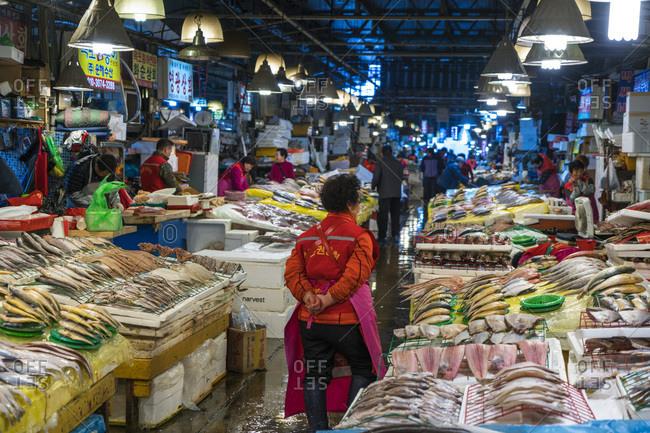 Seoul, South Korea - November 24, 2015: Fish stalls at the Noryangjin Fish Market in Seoul, South Korea