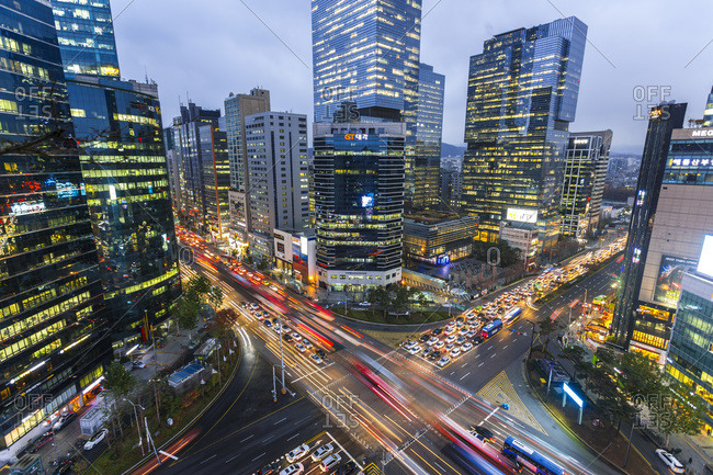 Aerial view of the Gangnam District at dusk in Seoul, South Korea