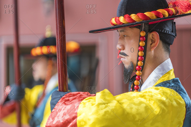 Seoul, South Korea - November 26, 2015: Royal Guard at the Deoksugung Palace in Seoul, South Korea