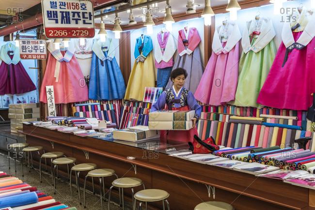 Seoul, South Korea - November 27, 2015: Traditional Korean dresses for sale at the Dongdaemun Market in Seoul, South Korea