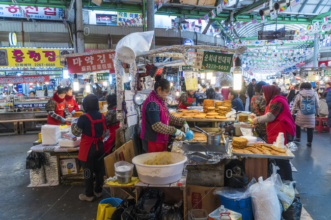 Seoul, South Korea - November 27, 2015: Dongdaemun Food Market in the Dongdaemun District, Seoul, South Korea