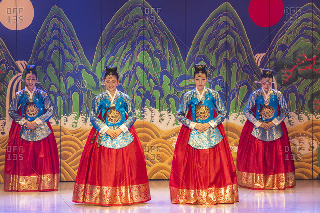 Seoul, South Korea - November 27, 2015: Traditional Korean dancers perform the dance 'Reign of Peace and Prosperity' in Seoul, South Korea