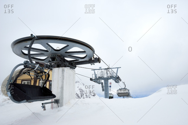 Chairlift at top of ski slope