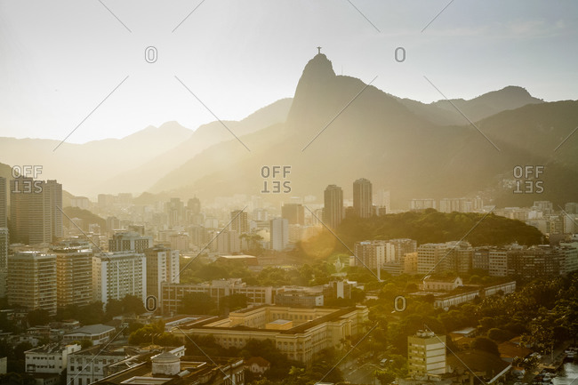 Rio de Janeiro and the statue of Christ the Redeemer on Corcovado Mountain as seen from Sugar Loaf Mountain