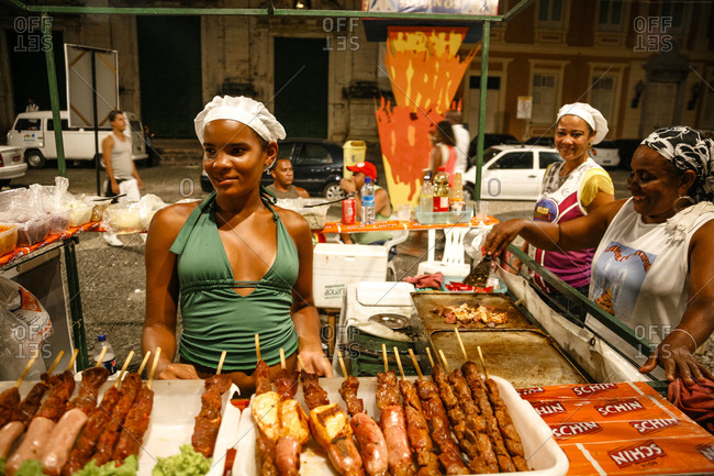 Salvador, Brazil - March 9, 2010: Street food stall on Terreiro de Jesus square in the Pelourinho District