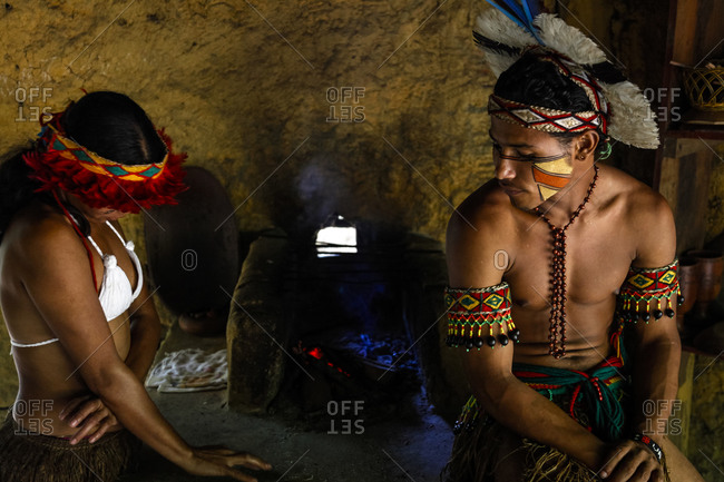 Porto Seguro, Brazil - March 19, 2010: Pataxo Indian people at the Reserva Indigena da Jaqueira