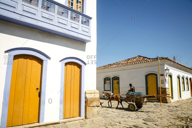 Colorful colonial architecture in the historic section of Paraty in Rio de Janeiro State, Brazil