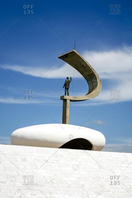 Brasilia, Brazil - March 6, 2010: Memorial JK featuring the statue of Juscelino Kubitschek