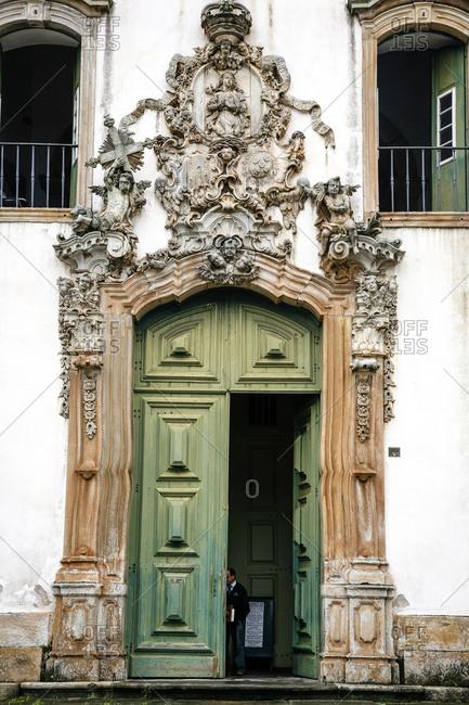The soapstone doorway of the Sao Francisco de Assis Church in Ouro Preto, Brazil