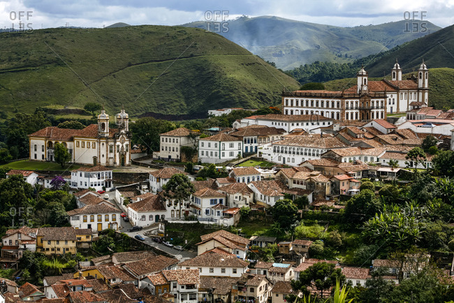 An aerial view of Ouro Preto, Brazil