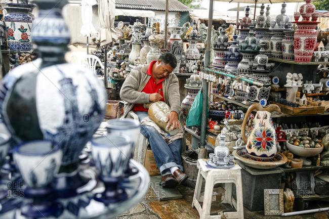 Ouro Preto, Brazil - March 4, 2010: Craft market near Sao Francisco de Assis Church