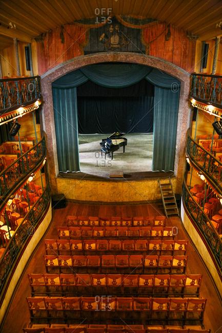 Ouro Preto, Brazil - March 3, 2010: An interior view of the Casa da Opera and Teatro Municipal