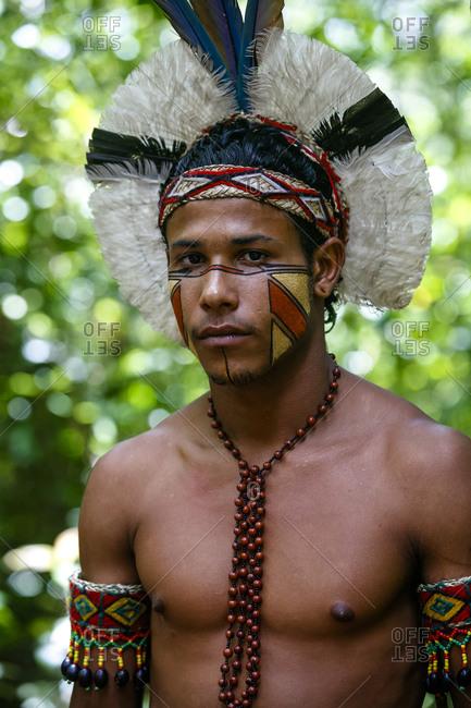 Porto Seguro, Brazil - March 19, 2010: Portrait of a Pataxo Indian man at the Reserva Indigena da Jaqueira