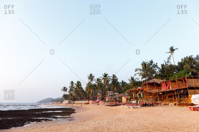 Resort area on an expanse of sandy beach