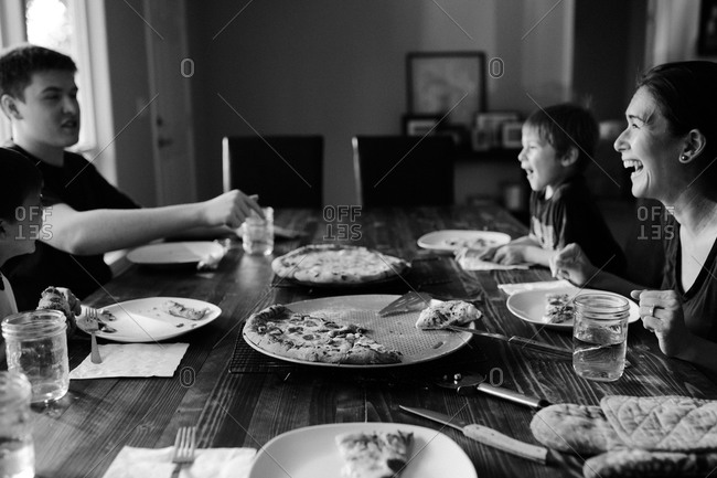 Family having a pizza dinner