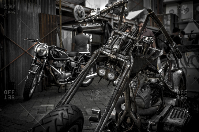 Jakarta, Indonesia - April 12, 2016: Close up of a motorcycle