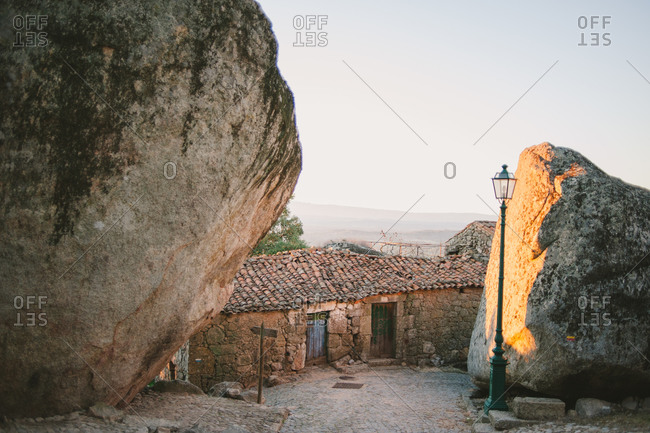 Homes built among boulders in Monsanto, Portugal