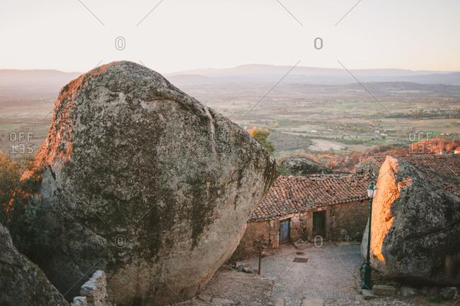 Houses built among boulders in Monsanto, Portugal