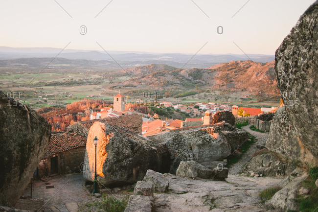 Houses built among boulders in the village of Monsanto, Portugal