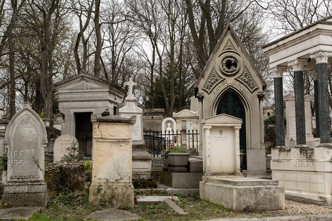 Mausoleum and headstones at Cemetery of Pere Lachaise