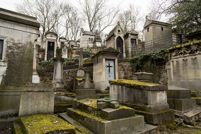 Various headstones at Cemetery of Pere Lachaise