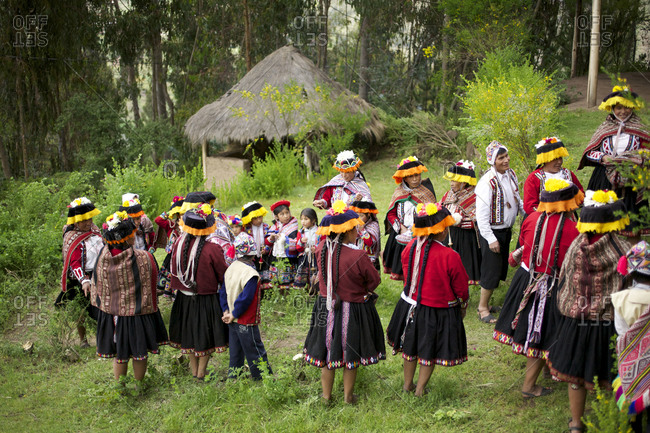 Peru - April 5, 2013: Group of Andean women in traditional clothing in Cusco, Peru