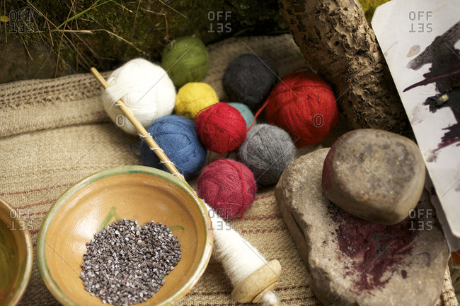 Overhead view of different colored balls of wool