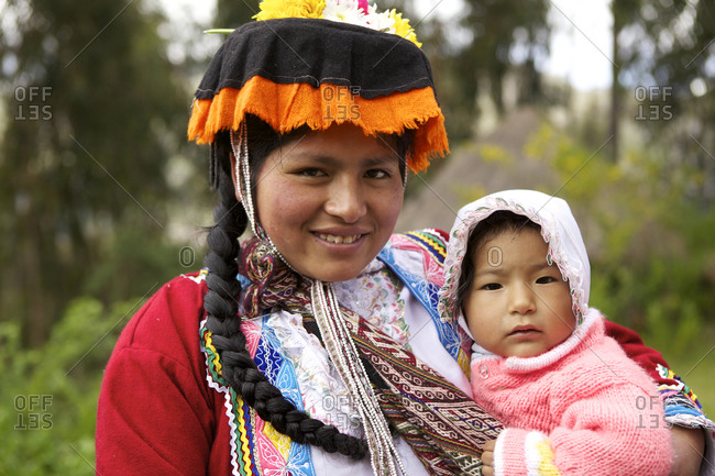 Peru - April 5, 2013: Portrait of a mother and baby from the Amaru community in Peru