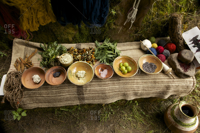 Overhead view of bowls of ingredients in the Amaru community, Peru