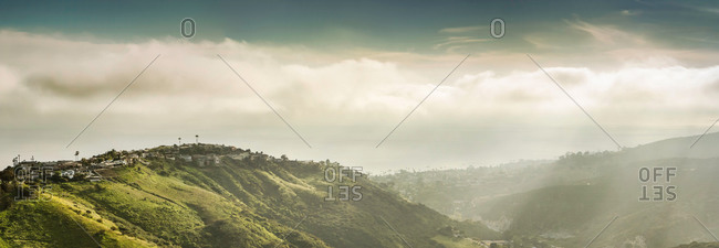 Panoramic view of hills and dramatic sky, Laguna Beach, California, USA