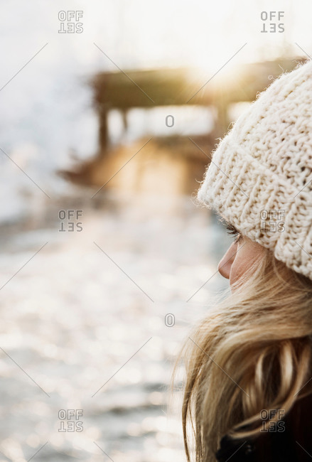 Mid adult woman in snow