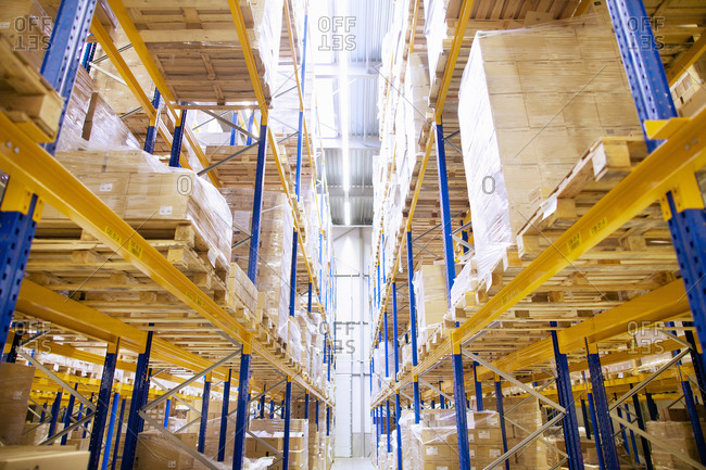 Stacked shelves in distribution warehouse