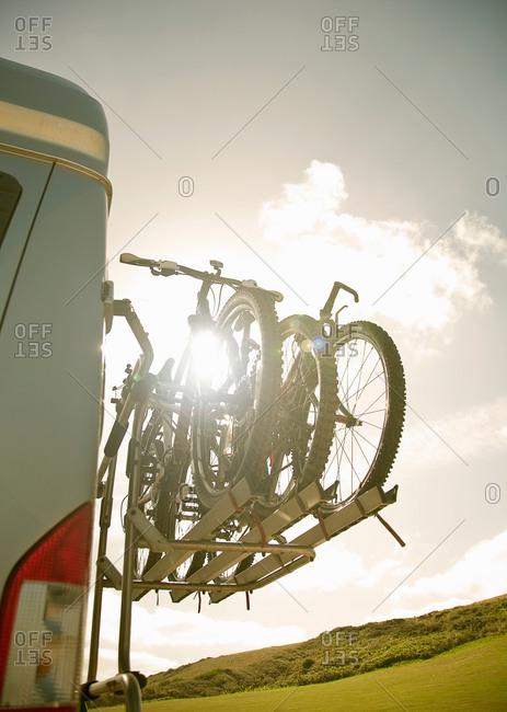Bikes on back of camper van
