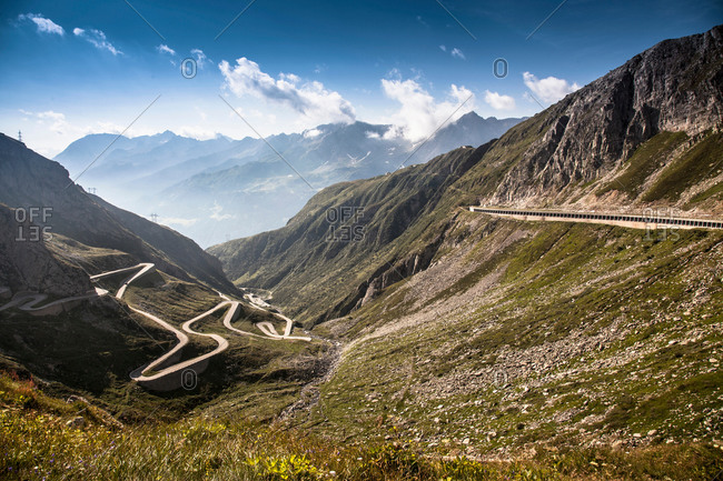 Distant view of old road to Gotthard Pass, Switzerland